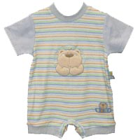 shorty striped romper with bear detail